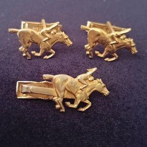 Vintage Racehorse & Jockey Cuff links & Tie Clip